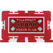 Full House Poker Club Plaques - Red 50000 (Pack of 5), 29g ABS Composite