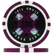 Full House Poker Club Poker Chips - Purple 500 (Roll of 25), 14g Clay Composite