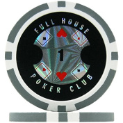 Full House Poker Club Poker Chips - Grey 1 (Roll of 25), 14g Clay Composite