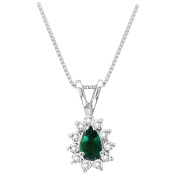 Luis Creations PA268ED 0.35 Ct. Diamond And Emerald Pendant In 14K Gold