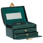 Impenco Faux Crocodile Jewellery Box - Green