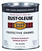 Rustoleum 0.9l Anodized Bronze Semi Gloss Stops Rust Protective Enamel 7754-