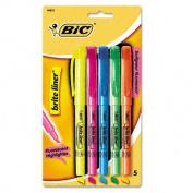 Bic BLP51WASST Brite Liner Highlighter Chisel Tip Fluorescent BE GN OE PK YW 5/set