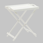 Folding Tray Table With White Finish