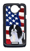 Carolines Treasures SS4223HTCONE USA American Flag With Japanese Chin HTC One X Cell Phone Cover