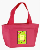Carolines Treasures CJ1010-T-PK-8808 Monogram Letter T - Lime Green Zippered Insulated School Washable and . Lunch Bag Cooler
