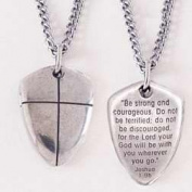 Bob Siemon Designs 817913 Shield Of Faith Cross Small Necklace With 46cm . Chain - Pewter