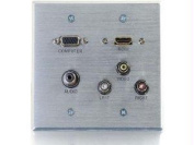 39704 C2g Hdmi Vga 3.5mm Composite Video And Stereo Audio Pass-through Wall Plate - Alu