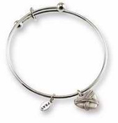 Cathedral Art 92065 Bracelet-Bangle-Wrapped In Love with Heart Charms - Silvertone with Pewter Finish