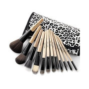 12 Pcs Luxury Wooden Handle Makeup Brushes Set with Leopard Case [version:x6.6] by DELIAWINTERFEL