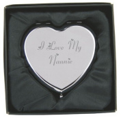 Engraved I Love My Nannie Heart Compact Hand Mirror with Gift Box!