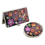 Mother of Pearl Purple Arabesque Flower Design Business Credit Name Card Holder Compact Mirror Set Stainless Steel Engraved Slim Id Money Case
