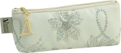 Vagabond Diva White Faux Leather Pencil Case Style Cosmetics Bag
