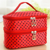 Teenxful Dual Layer Polka Dots Travel Cosmetics Makeup Toiletry Bags Organiser Holder Storage Case Red