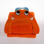 Little Ashkim HTM001 Baby Monster Hooded Turkish Towel - Orange 0-24 Months