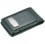 Visol VMC82 Tenacity Black Leather & Stainless Steel Engravable Money Clip