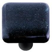 Hot Knobs HK1033-KB Dark Metallic Blue Square Glass Cabinet Knob - Black Post