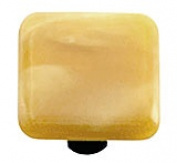 Hot Knobs HK2003-KB Swirl Amber Rectangle Glass Cabinet Knob - Black Post