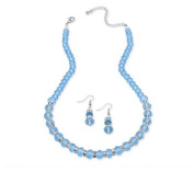 PalmBeach Jewellery 5259403 Birthstone Beaded Necklace and Earrings Set in Silvertone March - Simulated Aquamarine