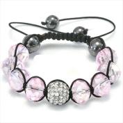 Best Desu 17076 Shambala-Style Crystal Bracelet Rosaline Pink