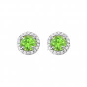 Fine Jewellery Vault UBNER40589AGCZPR600 August Birthstone Peridot and Cubic Zirconia Halo Stud Earrings in Sterling Silver 2.25 CT TGW