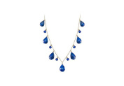 Fine Jewellery Vault UBNKBK7085Y14S Blue Sapphire Drop Necklace in 14K Yellow Gold with 40 Carat Total Gem Weight