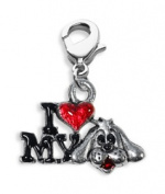 Whimsical Gifts 4005S I Love My Dog Charm Dangle Silver