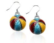 Whimsical Gifts 2875S-ER Beach Ball Charm Earrings in Silver