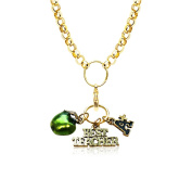 Whimsical Gifts 1402G-NL Teacher Charm Necklace In Gold