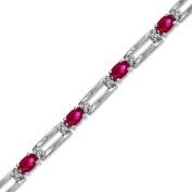 Luis Creations BRB34RD 4.10 Ct. 5 X 3 Oval Ruby And Diamond Bracelet Set In 14K Gold