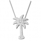 Luis Creations PRL1101 14K Gold Palm Tree Pendant With 0.50 Ct. Of Diamonds & 41cm . Chain Included