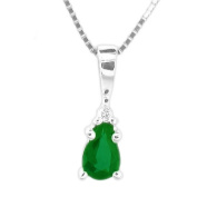 Luis Creations PRL1306ED 0.20 Ct. Pear Shaped Emerald And Diamond Pendant In 14K Gold
