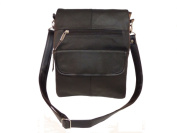 Leather In Chicago 3027-BLK Cowhide Leather Sidebag Black