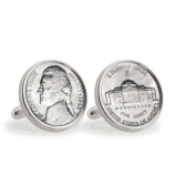 UPM Global LLC 12782 Silver Jefferson Nickel Wartime Nickel Sterling Silver Cuff Links
