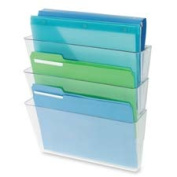 Deflect-O Corporation DEF73601RT Wall Pocket System- 3-Letter Pockets- 33cm .x 4in.x 14in.- Clear