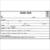 Broadman Holman 465258 Visitor Card Welcome Visitor No. Wv5