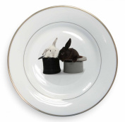 Rabbits in Top Hats Gold Leaf Rim Plate n Gift Box