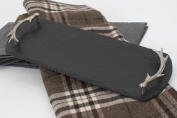 Small Rectangular Serving Tray With Brushed Stainless Steel Antler Handles - Handcrafted Natural Slate 42 x15cm - The Just Slate Company