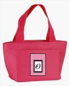 Carolines Treasures CJ1001-O-PK-8808 Monogram Letter O - Pink Black Polka Dots Lunch Bag or Doggie Bag