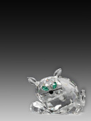 Asfour Crystal 634-30 2.28 L x 1.18 H in. Crystal Cat Animals Figurines