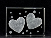 Asfour Crystal 1162-70-09 2.75 L x 2 H x 1 W in. Crystal Laser-Engraved Two Hearts Love & Hearts Laser-Cut