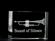 Asfour Crystal 1162-70-15 2.75 L x 2 H x 1 W in. Crystal Laser-Engraved Trumpet Music Laser-Cut
