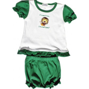Lil Cub Hub 001LCHCOFL-1824 White & Green Short Sleeve Blouse with Bloomers Set - Lion 18-24 months