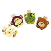 Blancho Bedding WC011 Sweet Animals - Wooden Clips - Wooden Clamps - Mini Clips