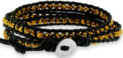 Doma Jewellery MAS03196 Triple Wrap Bracelet with Yellowish Gold Colour Crystal Beads - Leather Cord and Stainless Steel Clasp