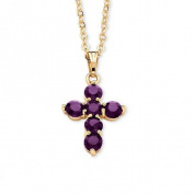 PalmBeach Jewellery 5464902 Birthstone Cross Pendant Necklace in Yellow Gold Tone February - Simulated Amethyst