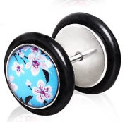 Blue Cherry Blossom Fake Ear Plug Flesh Tunnel Earring ( Can Be Worn in a Normal Piercing ).