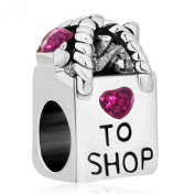 Pugster Pink Crystal Love to Shopping Bag Heart Bead Charm Sale Fits Pandora Charms Bracelet