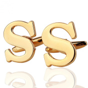 AMDXD Jewellery Shirts Cufflinks Collections For Men Alphabet Letter S Golden About 18MM-20MM