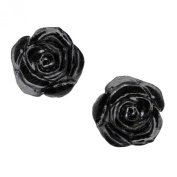 Alchemy Gothic Black Rose Studs Pair of Earrings